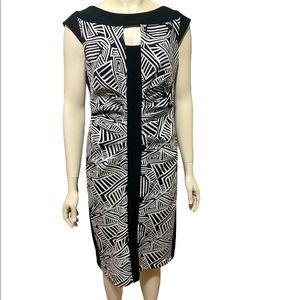 JOSEPH RIBKOFF Black White Sheath Dress 14 NWT